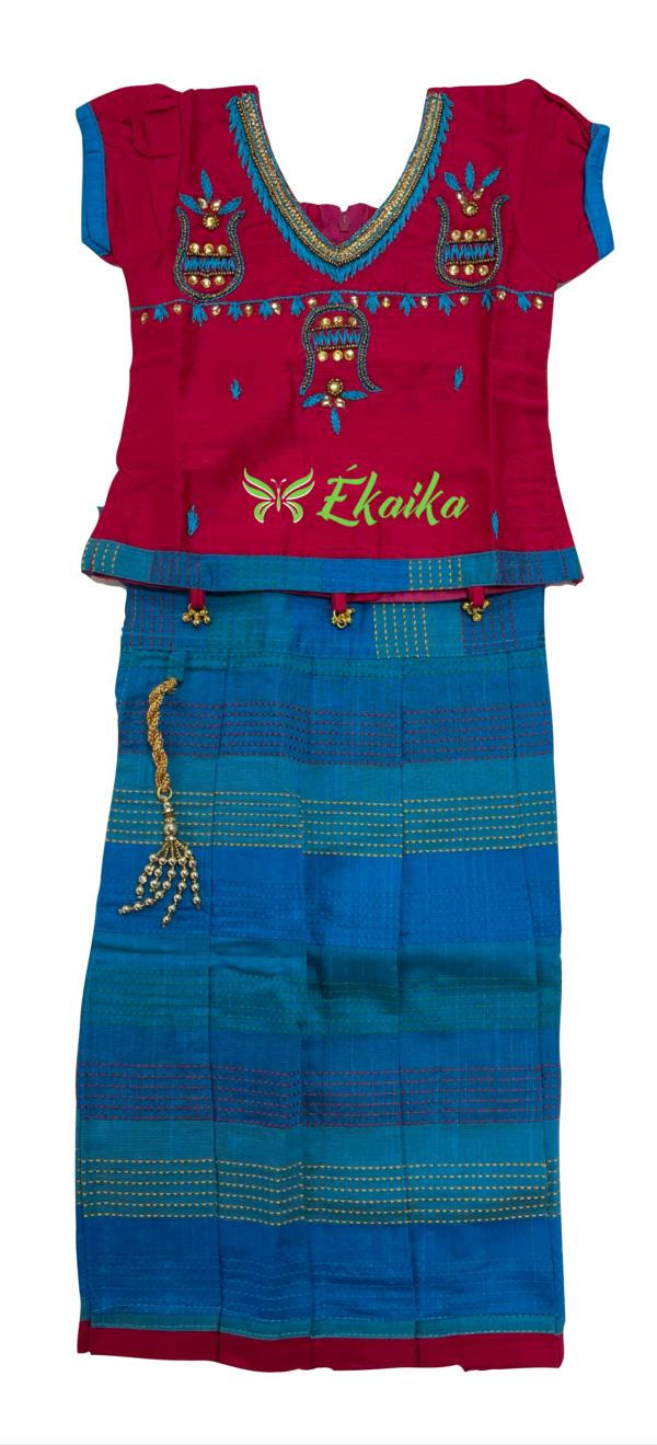 silk cotton pavadai blouse set